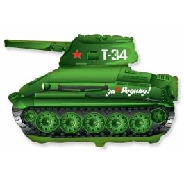 Шар Фольгированный Танк Т-34 (зелёный) 79 см. С гелием