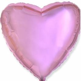 Шар фольгированный сердце нежно-розовое. 48 см. С гелием