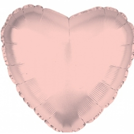 Шар фольгированный сердце розовое золото. 48 см. С гелием
