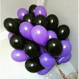 Облако шаров сиреневый и чёрный. 20 шт. 30 см.