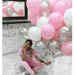 Облако шаров белый, розовый, серебро. 20 шт. 30 см.