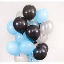 Облако шаров голубой, серебро и чёрный 20 шт. с обработкой.