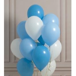 Облако из шаров. Белые, голубые. 20 шт. 30 см.