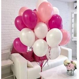 Облако шаров белый, розовый, фуксия. 20 шт. 30 см.