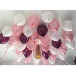 Облако шаров металлик бургундия, розовый, белый 20 шт. с обработкой.