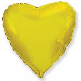 Шар фольгированный сердце золото. 48 см. С гелием