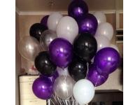 Облако из шаров. Белые, чёрные, фиолетовые(металлик), белые(металлик). 20 шт. 30 см.