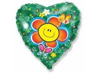 Шар Фольгированный Сердце Цветок 48 см. С гелием