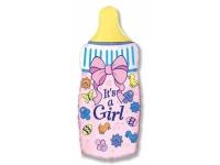Шар Фольгированный Бутылочка для девочки 79 см. С гелием