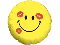 Шар Фольгированный Круг Смайл Эмоции (Поцелуи) 48 см. С гелием