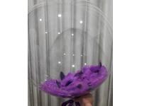 Шар бабблс 48 см с перьями(фиолетовые)