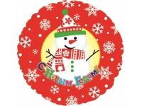 Шар Фольгированный Круг С Новым годом Снеговик 48 см. С гелием