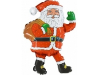 Шар Фольгированный Круг Санта Клаус 48 см. С гелием