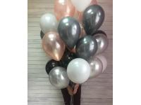 Облако шаров графит(металлик), розовое золото(металлик), чёрный, белый. 20 шт. с обработкой.