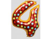 """Шар фольгированный """"Пончик. Цифра 4"""" 86 см. С гелием"""