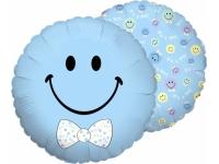 Шар Фольгированный Смайл мальчик (Голубой) 48 см. С гелием