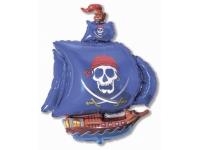 Шар Фольгированный Пиратский корабль (синий) 104 см. С гелием