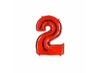 """Шар фольгированный """"Цифра 2"""" красная 102 см. С гелием"""