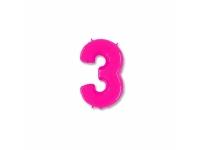 """Шар фольгированный """"Цифра 3"""" ярко-розовая 102 см. С гелием"""