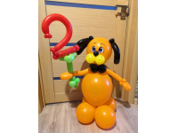 """Фигура из шаров """"Пёсик с цифрой"""""""