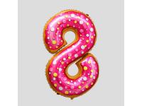 """Шар фольгированный """"Пончик. Цифра 8"""" 86 см. С гелием"""