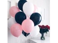 Облако из шаров. Чёрные, розовые, белые. 20 шт. 30 см.