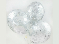 "Шар гелиевый 30 см(12"") с конфетти(серебро)"