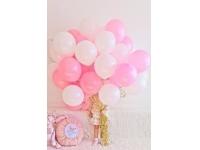 Облако из шаров. Белые, розовые. 20 шт. 30 см.