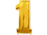 """Шар Фольгированный """"Цифра 1"""" Золото 102 см. С гелием"""