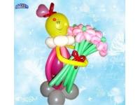 Фигуры из шаров. Смайлик - девочка с букетом розовых ромашек