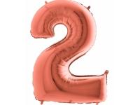 """Шар фольгированный """"Цифра 2"""" розовое золото 105 см. С гелием."""