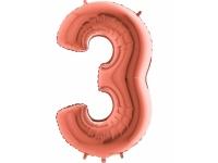 """Шар фольгированный """"Цифра 3"""" розовое золото 105 см. С гелием."""