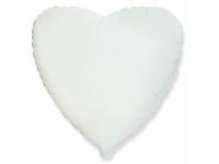 Шар фольгированный сердце белое. 48 см. С гелием