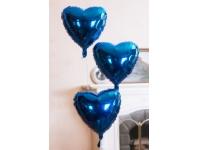 Шар фольгированный сердце синее. 48 см. С гелием