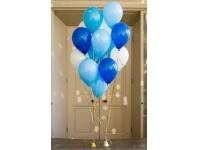 Облако из шаров. Голубые, синие, белые. 25 шт. 30 см.