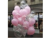 Облако шаров прозрачные и розовые. 20 шт. 30 см.