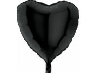 Шар фольгированный сердце чёрное. 48 см. С гелием