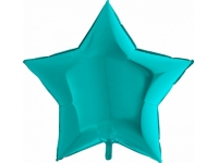 Шар фольгированный звезда бирюза. 48 см. С гелием
