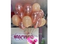 Облако шаров розовое золото и персик, 20 шт. с обработкой.