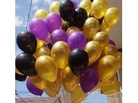 Облако шаров золото, чёрный, сиреневый 20 шт. с обработкой.