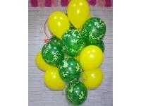 Облако из шаров. Жёлтые и камуфляж. 20 шт. 30 см.
