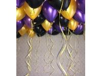 Облако шаров фиолетовый(металлик), золото и чёрный 20 шт. с обработкой.