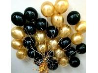 Облако из шаров. Чёрные и золотые(металлик). 20 шт. 30 см.