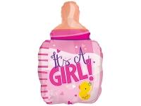 """Шар фольгированный """"Бутылочка для девочки. Цыплёнок"""" 61 см. С гелием"""