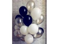 Облако шаров чёрный, белый, серебро 20 шт. с обработкой.