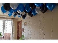 Облако шаров чёрный, синий и белый металлик 20 шт. с обработкой.