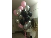 Облако шаров чёрный, серебряный, розовый. 20 шт. 30 см.