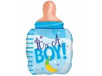 """Шар фольгированный """"Бутылочка для мальчика. Месяц"""" 61 см. С гелием"""