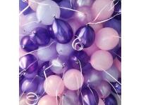 Облако шаров розовый, фиолетовый(металлик), розовый(металлик), сиреневый, сиреневый(металлик) 20 шт. с обработкой.