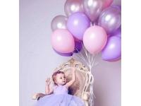 Облако шаров серебро, розовый и сиреневый 20 шт. с обработкой.